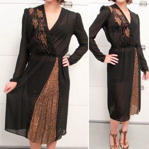 VINTAGE Black Fall Autumn Copper Leaf Dress Sheer